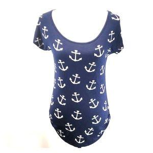 《Free Kisses》Navy Blue Anchor Love Top Sz Large